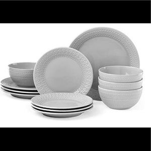 KS willow drive grey 12-pc dinnerware set